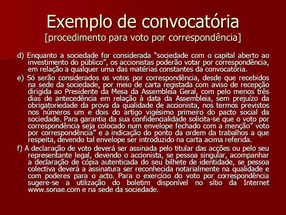 Exemplo de convocatória [procedimento para voto por correspondência]